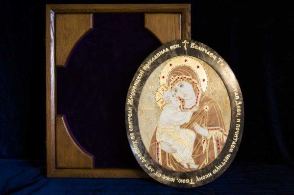 Икона Жировицкой (Жировичской) Божией Матери № п-4 из мрамора, камня, изображение, фото 1