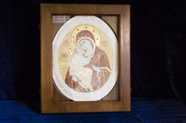 Икона Жировицкой (Жировичской) Божией Матери № п-5 из мрамора, камня, изображение, фото 5