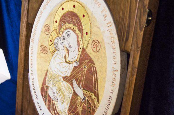 Икона Жировицкой (Жировичской) Божией Матери № п-5 из мрамора, камня, изображение, фото 1