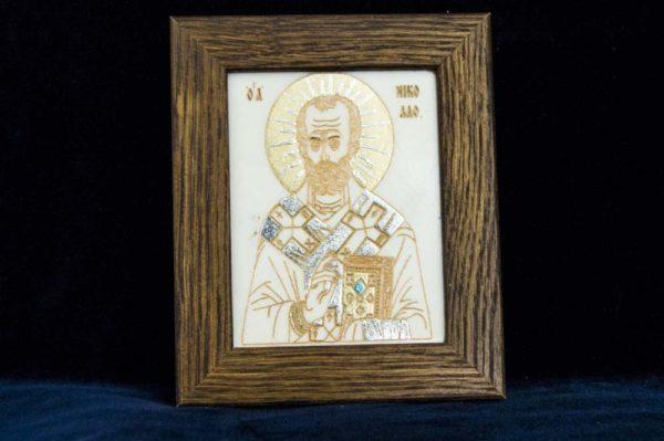 Икона Николая Чудотворца (Угодника) № 4 из мрамора, камня, изображение, фото 1