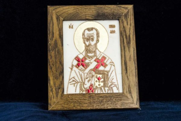 Икона Николая Чудотворца (Угодника) № 5 из мрамора, камня, изображение, фото 1