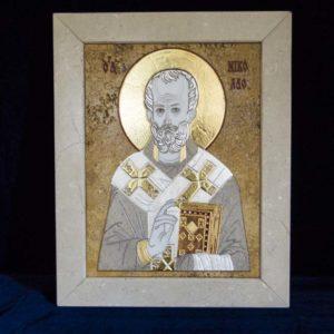 Икона Николая Чудотворца (Угодника) инд.№ 03 из мрамора, камня, изображение, фото 6