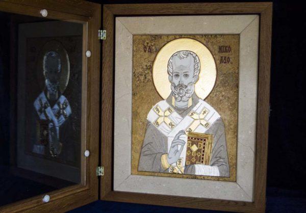 Икона Николая Чудотворца (Угодника) инд.№ 03 из мрамора, камня, изображение, фото 7