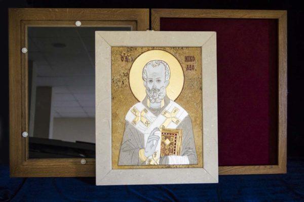 Икона Николая Чудотворца (Угодника) инд.№ 03 из мрамора, камня, изображение, фото 3