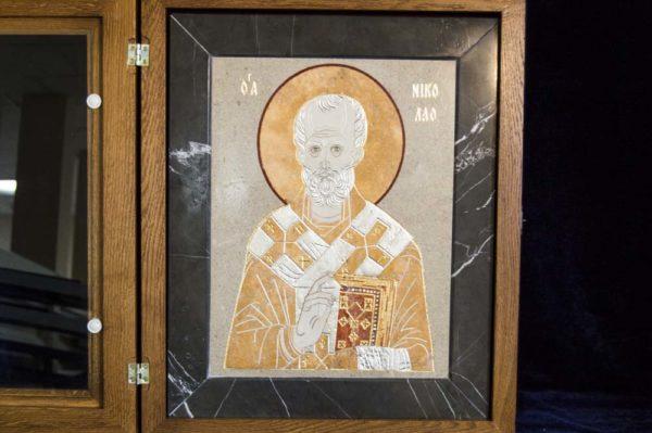 Икона Николая Чудотворца (Угодника) инд.№ 04 из мрамора, камня, изображение, фото 2