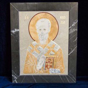Икона Николая Чудотворца (Угодника) инд.№ 04 из мрамора, камня, изображение, фото 7
