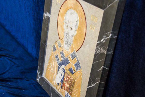 Икона Николая Чудотворца (Угодника) инд.№ 04 из мрамора, камня, изображение, фото 5