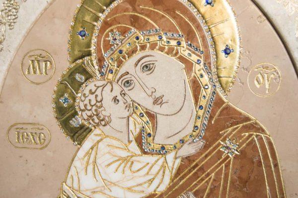 Икона Жировицкой (Жировичской) Божией Матери № п-7 из мрамора, камня, изображение, фото 1