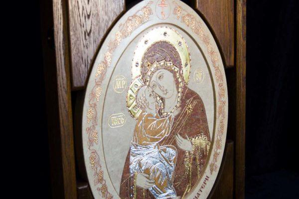 Икона Жировицкой (Жировичской) Божией Матери № п-9 из мрамора, камня, изображение, фото 3