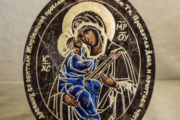 Икона Жировицкой (Жировичской) Божией Матери № 012 из мрамора, камня, изображение, фото 2