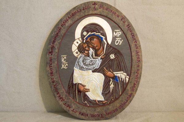 Икона Жировицкой (Жировичской) Божией Матери № 014 из мрамора, камня, изображение, фото 1