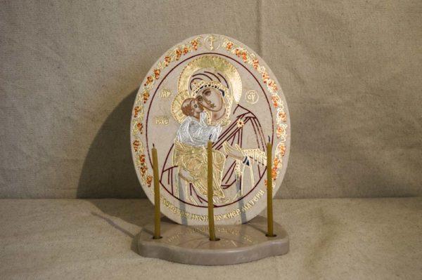 Икона Жировицкой (Жировичской) Божией Матери № 39 из мрамора, камня, изображение, фото 1