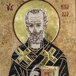 Икона Николая Чудотворца (Угодника) инд.№ 05 из мрамора, камня, изображение, фото 5