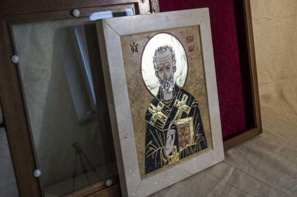 Икона Николая Чудотворца (Угодника) инд.№ 05 из мрамора, камня, изображение, фото 2
