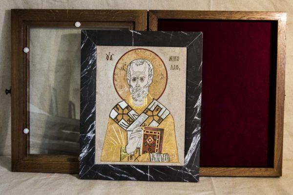 Икона Николая Чудотворца (Угодника) инд.№ 06 из мрамора, камня, изображение, фото 5