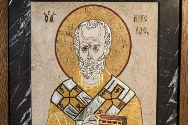 Икона Николая Чудотворца (Угодника) инд.№ 06 из мрамора, камня, изображение, фото 1