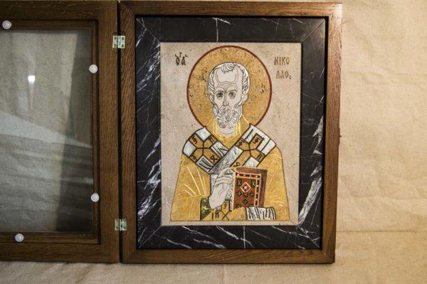 Икона Николая Чудотворца (Угодника) инд.№ 06 из мрамора, камня, изображение, фото 2