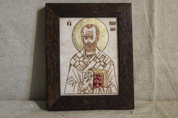Икона Николая Чудотворца (Угодника) № 6 из мрамора, камня, изображение, фото 1