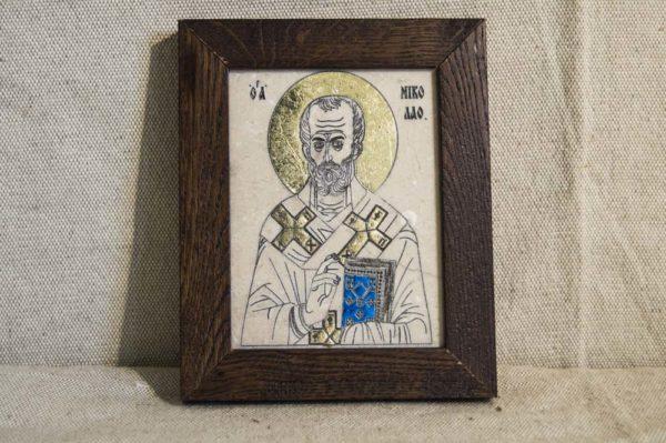 Икона Николая Чудотворца (Угодника) № 9 из мрамора, камня, изображение, фото 1