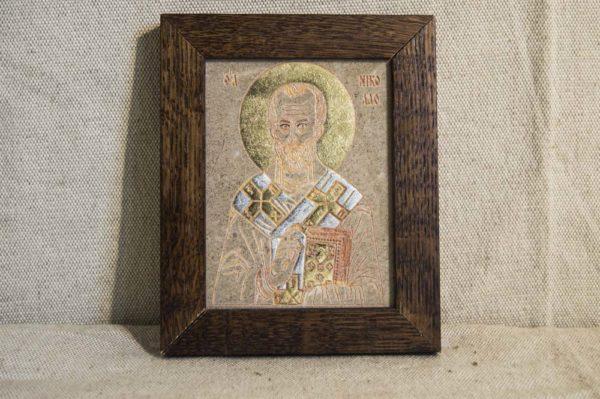 Икона Николая Чудотворца (Угодника) № 10 из мрамора, камня, изображение, фото 1