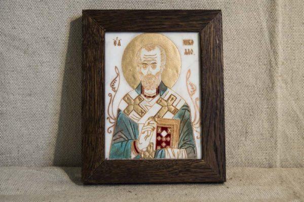 Икона Николая Чудотворца (Угодника) № 12 из мрамора, камня, изображение, фото 1