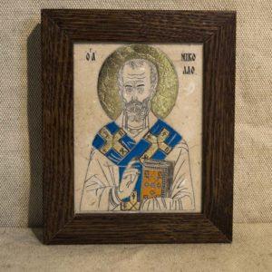 Икона Николая Чудотворца (Угодника) № 13 из мрамора, камня, изображение, фото 1