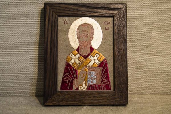 Икона Николая Чудотворца (Угодника) № 14 из мрамора, камня, изображение, фото 1