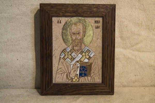 Икона Николая Чудотворца (Угодника) № 15 из мрамора, камня, изображение, фото 1