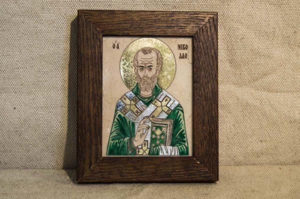 Икона Николая Чудотворца (Угодника) № 17 из мрамора, камня, изображение, фото 1