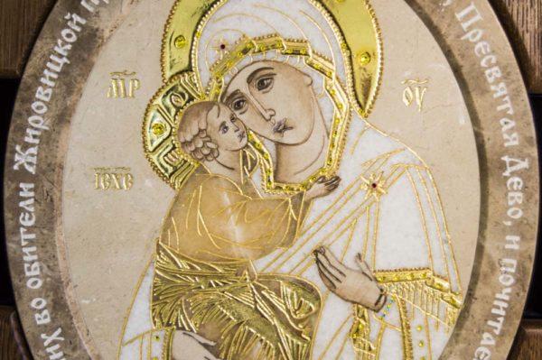Икона Жировицкой (Жировичской) Божией Матери № п-10 из мрамора, камня, изображение, фото 4