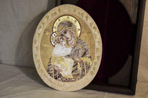 Икона Жировицкой (Жировичской) Божией Матери № п-11 из мрамора, камня, изображение, фото 2