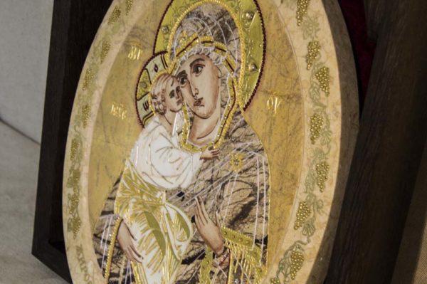 Икона Жировицкой (Жировичской) Божией Матери № п-11 из мрамора, камня, изображение, фото 1