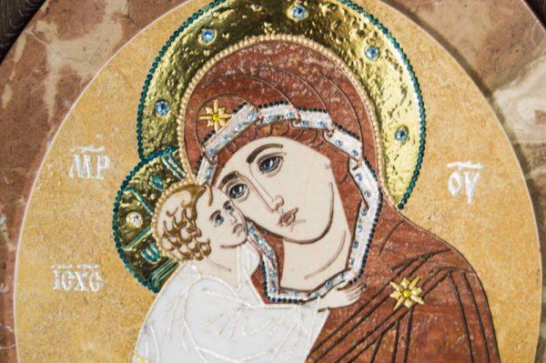 Икона Жировицкой (Жировичской) Божией Матери № п-12 из мрамора, камня, изображение, фото 2