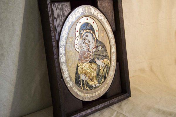 Икона Жировицкой (Жировичской) Божией Матери № п-13 из мрамора, камня, изображение, фото 7