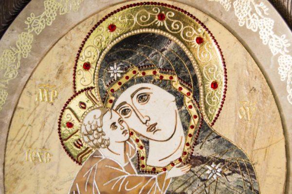Икона Жировицкой (Жировичской) Божией Матери № п-13 из мрамора, камня, изображение, фото 8