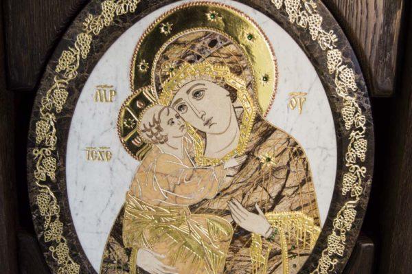 Икона Жировицкой (Жировичской) Божией Матери № п-14 из мрамора, камня, изображение, фото 4