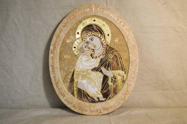 Икона Жировицкой (Жировичской) Божией Матери № п-15 из мрамора, камня, изображение, фото 8
