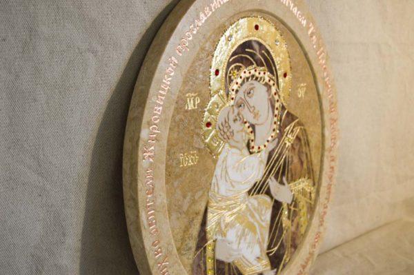Икона Жировицкой (Жировичской) Божией Матери № п-15 из мрамора, камня, изображение, фото 6