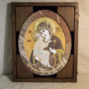 Икона Жировицкой (Жировичской) Божией Матери № п-16 из мрамора, камня, изображение, фото 2