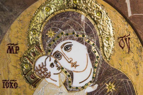 Икона Жировицкой (Жировичской) Божией Матери № п-16 из мрамора, камня, изображение, фото 4