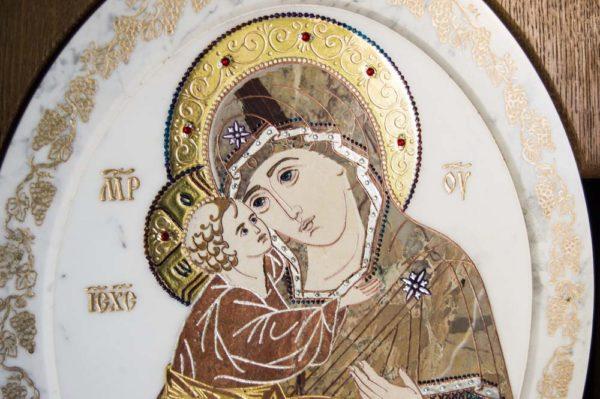 Икона Жировицкой (Жировичской) Божией Матери № п-18 из мрамора, камня, изображение, фото 9