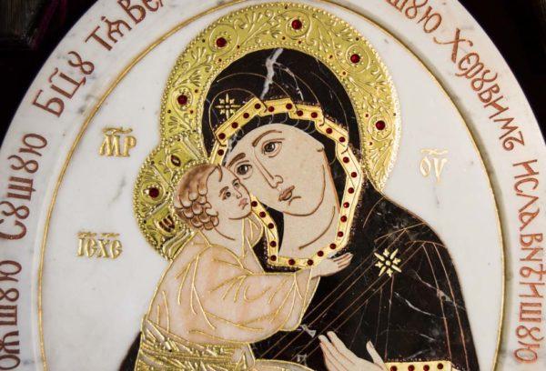 Икона Жировицкой (Жировичской) Божией Матери № п-19 из мрамора, камня, изображение, фото 9