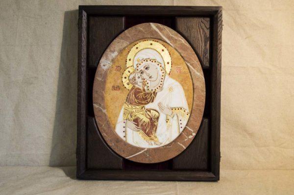 Икона Жировицкой (Жировичской) Божией Матери № п-20 из мрамора, камня, изображение, фото 3