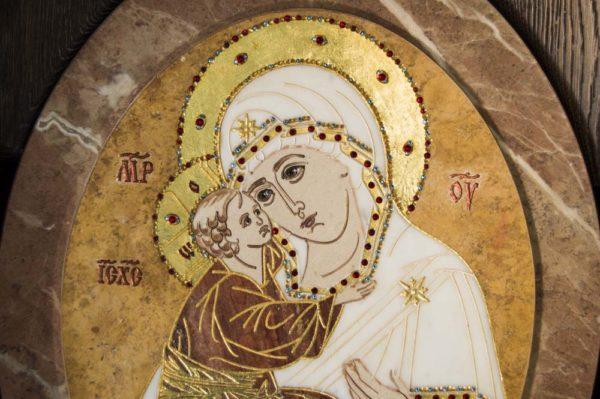 Икона Жировицкой (Жировичской) Божией Матери № п-20 из мрамора, камня, изображение, фото 2