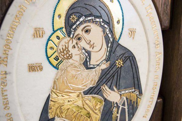 Икона Жировицкой (Жировичской) Божией Матери № п-21 из мрамора, камня, изображение, фото 4