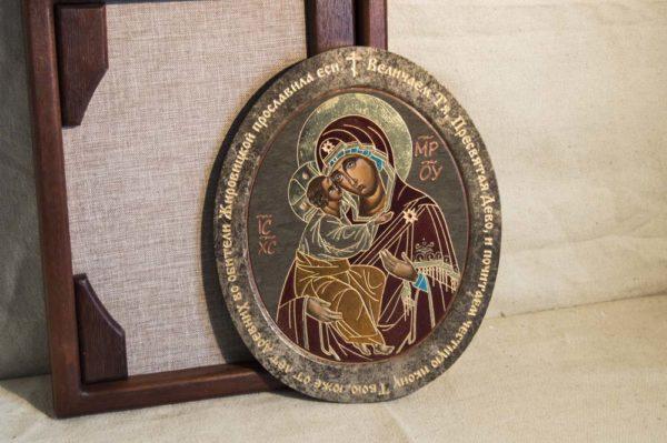 Икона Жировицкой (Жировичской) Божией Матери № 015 из мрамора, камня, изображение, фото 4