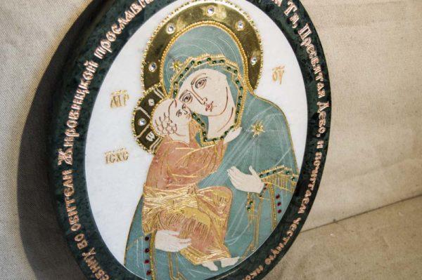 Икона Жировицкой (Жировичской) Божией Матери № п-24 из мрамора, камня, изображение, фото 4