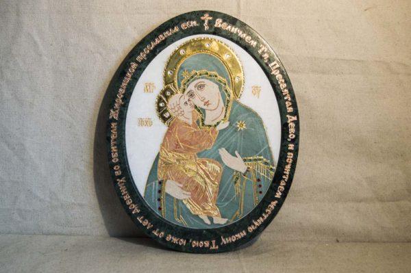 Икона Жировицкой (Жировичской) Божией Матери № п-24 из мрамора, камня, изображение, фото 2