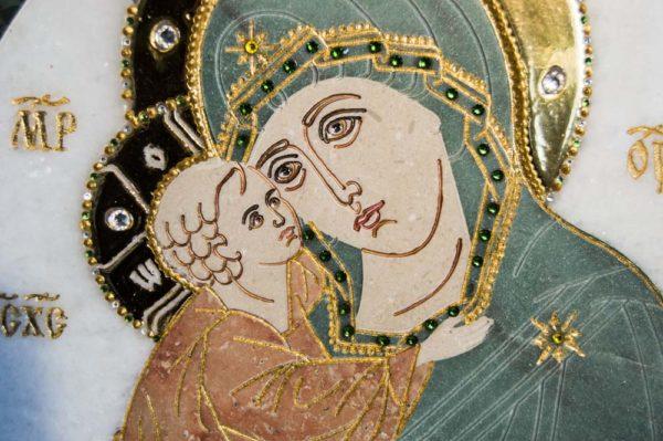 Икона Жировицкой (Жировичской) Божией Матери № п-24 из мрамора, камня, изображение, фото 5