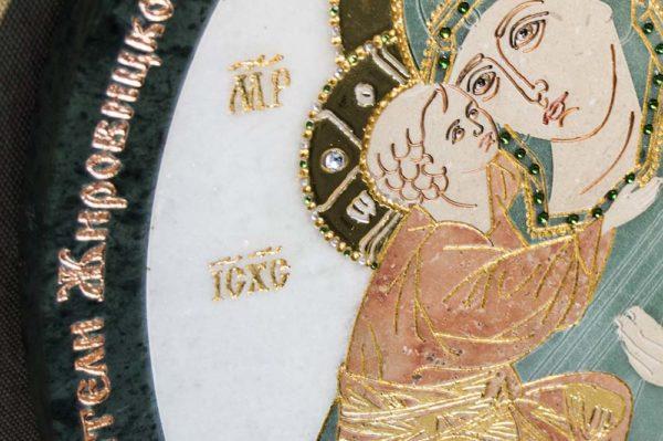 Икона Жировицкой (Жировичской) Божией Матери № п-24 из мрамора, камня, изображение, фото 10